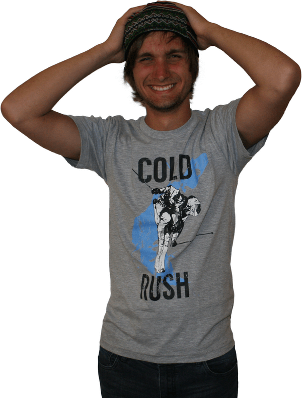 model wearing ski t-shirt cold rush