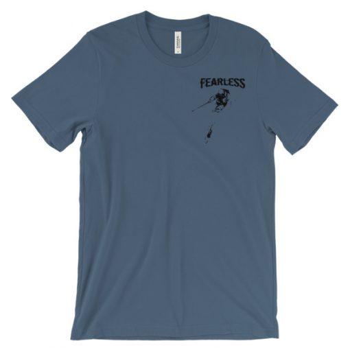 Fearless Breast Design T-Shirt Steel Blue