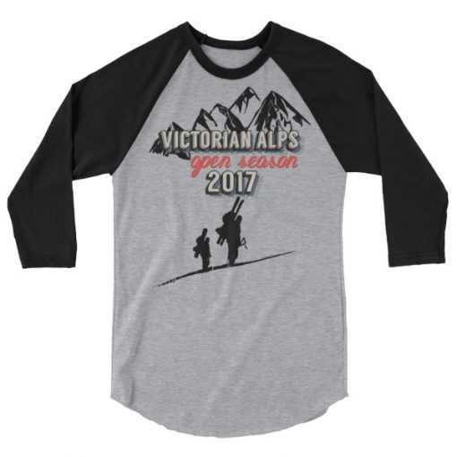 Victorian Alps 3/4 Raglan Black/Heather Grey