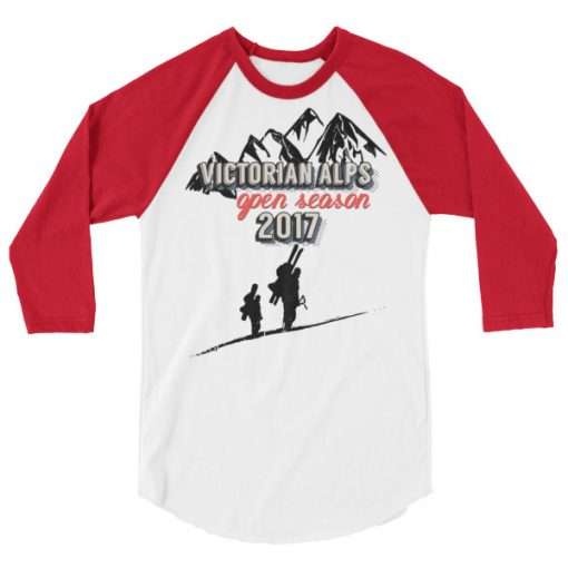 Victorian Alps 3/4 Raglan White/Red