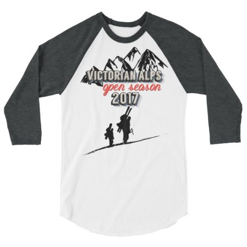 Victorian Alps 3/4 Raglan White/Heather Grey