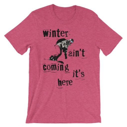 Winter Is Here Ski T-Shirt Heather Raspberry