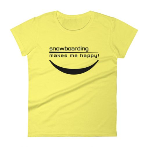 Happy Snowboarding Women's T-Shirt Spring Yellow