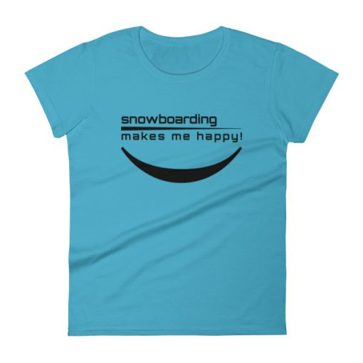 Happy Snowboarding Women's T-Shirt Caribbean Blue