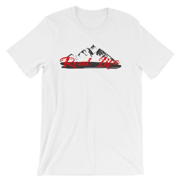 Real Life T-Shirt Mountain Design White
