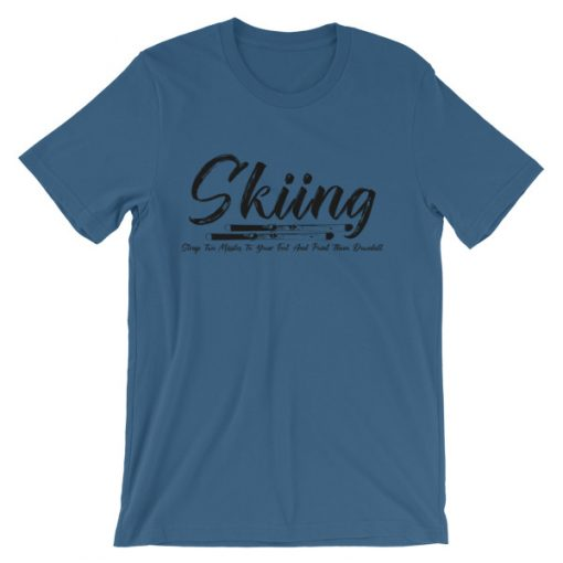 Unisex Skiing T-Shirt Design Steel Blue
