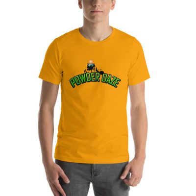 Powder Daze Skier T-Shirt Gold